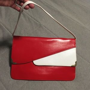Vintage red purse with built in mirror